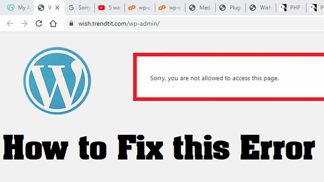 "How to Fix the ""Sorry, You Are Not Allowed to Access This Page"" Error in WordPress 10+ Solutions"
