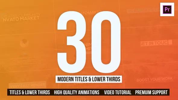 30 Modern Titles & Lower Thirds – Mogrt 25557447